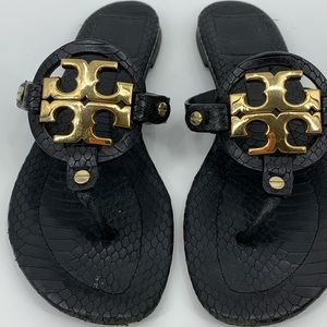 Tory Burch Miller sandal black LARGE gold hardware